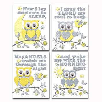 Baby girl nursery wall art newborn room decor yellow grey owl shower poster Now I lay me down sleep bedtime prayer baptism christening gift