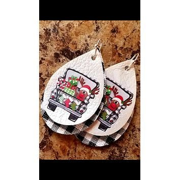 Rudolph in Buffalo Plaid Christmas Faux Leather Earrings