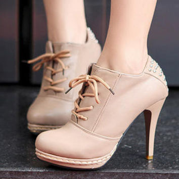 Studded Lace-Up Boots