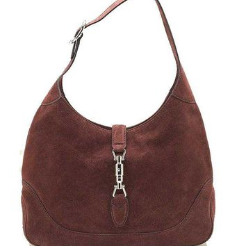 LFMON Gucci New Jackie Suede Hobo Shoulder Bag 277520, Red