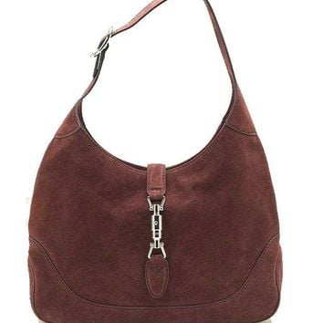 ESBONDB Gucci New Jackie Suede Hobo Shoulder Bag 277520, Red