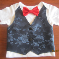 Boy navy blue vest Onesuit, Baby red green bow tie outfit, boy Xmas green bow tie outfit, Boy red bow tie Onesuit, boy navy blue vest shirt