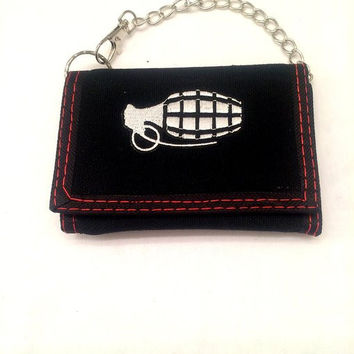 Hand Grenade Tri-Fold Wallet With Chain