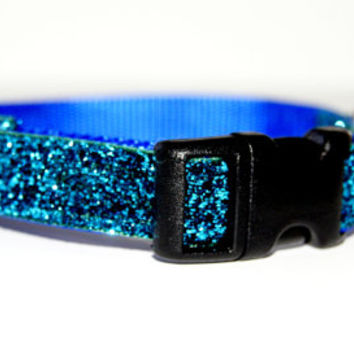Sparkle Blue Dog Collar Adjustable Sizes (XS, S, M)