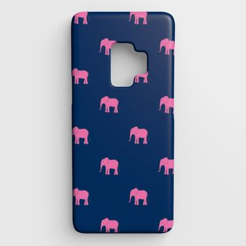 Elephant Cell Phone Case Galaxy S9 - Pink on Navy