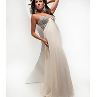 Jasz Couture 2013 Prom -Ivory Gown With Silver Embellsihments - Unique Vintage - Cocktail, Pinup, Holiday & Prom Dresses.
