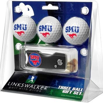 Southern Methodist University Mustangs Spring Action Divot Tool 3 Ball Gift Pack
