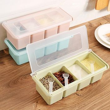 Seasoning Box Kitchen Supplies With Spoon Organizer Storage Boxes BBQ Spices Sugar Salt Bottle Plastic Storage Spice Jar