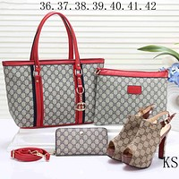 GUCCI new women's high quality three-piece Messenger bag F-KSPJ-BBDL red
