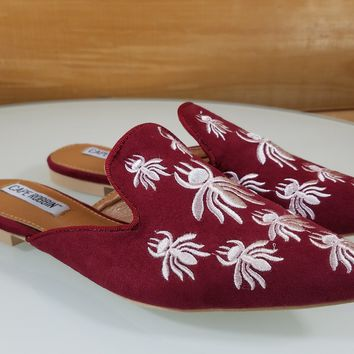 Pointy Toe Wine Red Vegan Suede Flats Mules Clog Embroidered Bee Design Slippers
