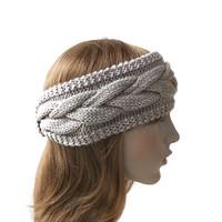 Hand Knit Women's Headband in Dusty Beige,Cable Knit Headband Turban,Wool Ear Warmer,Chunky Winter Hair Band,Wide Head Wrap,READY TO SHIP