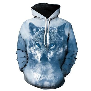 3D Wolf Print Long Sleeved Men Hooded Pullover 3594