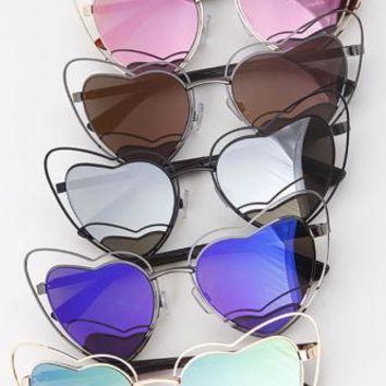Heart Love Frame Trendy Sunglasses Retro Double Hoops Gradient Fashion Shades