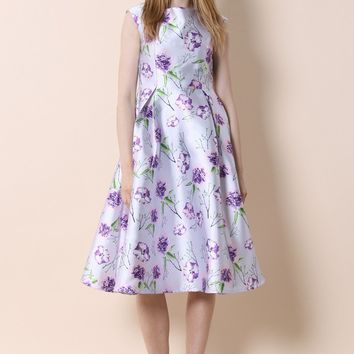 Carnations Blooming Prom Dress in Purple