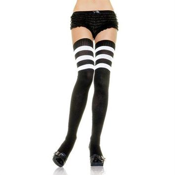 Athletic Ribbed Thigh Highs - Black - One Size