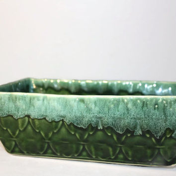 Vintage Cookson Green Pottery Planter 103, Dripware Glazed Mid Century Flower Pot