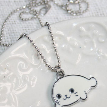 Cute Seal Necklace, Dainty Sea-Calf charm Ball chain Necklace, Minimalist Kawaii Modern Silver Necklace - Gift under 25 - Teens Jewelry