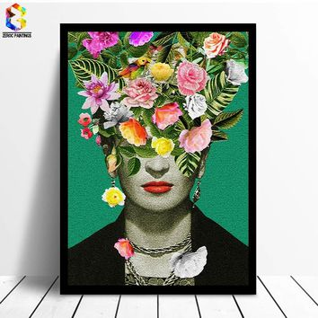Abstract Girl Portrait Floral Printing Art Canvas Paintings Poster, Flower Wall Picture for Living Room Self Portrait