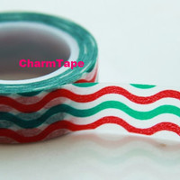 Green & Red waves Washi Tape Roll Adhesive Stickers WT52