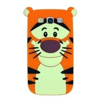 Disney Cartoon Soft Silicone Case Skin Cover for Samsung Galaxy S3 SIII i9300 with L&L Cable Tie Orange Tigger Jump