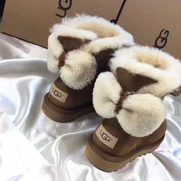 UGG Fashion Winter Women Bowknot Flat Warm Snow Ankle Boots Brown G