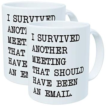 Pack of 2 - I survived another meeting that should have been an email