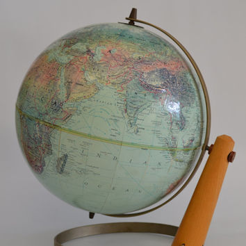 "Vintage 1960's Replogle World Globe The Book of Knowledge 12"" Globe Mid Century Mod Office Decor Modern Retro Geography Home Decor"