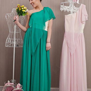 Green Long One Shoulder Gown / Formal Chiffon Prom Dress / Lace Belt and Back Bridesmaid Dress / Elegant Custom Made Dress - Size and Color
