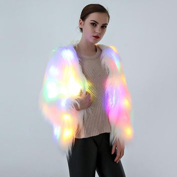 LED Fur coat stage costumes female costume LED luminous clothes jacket Bar dance show faux fur coats star nightclub Christmas