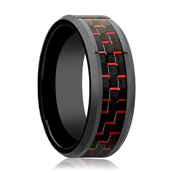 Black Ceramic Ring - Black & Red Carbon Fiber  - Ceramic Wedding Band - Beveled - Polished Finish - 4mm - 6mm - 8mm - 10mm