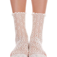 Lace Ankle Socks - Cream & Black