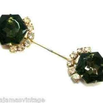 Vintage Hat Pin 1920s Smoky Black & Rhinestones Prongset