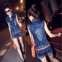 2015 new hole collar women models fashionable one piece denim shorts denim overalls for women jumpsuits plus size