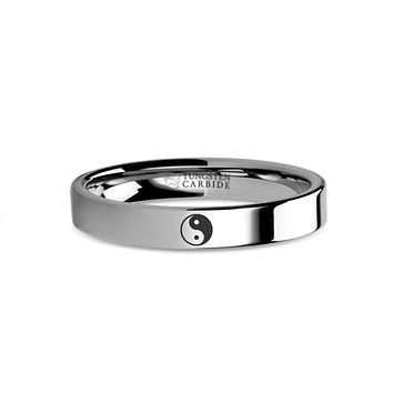 Yin Yang Symbol Laser Engraved Tungsten Carbide Wedding Band