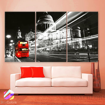 "LARGE 30""x 60"" 3 Panels Art Canvas Print Beautiful London England Bus Red night lights Wall Home decor  interior design ( framed 1.5"" depth)"