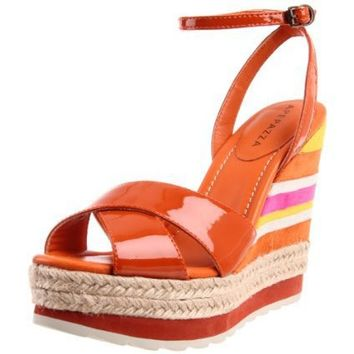 Apepazza Women`s Luce Ankle-Strap Sandal,Orange Patent,39 EU/9 M US