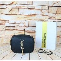 YSL Women Shopping Leather Metal Chain Crossbody Satchel Shoulder Bag(6-Color) Black I-MYJSY-BB
