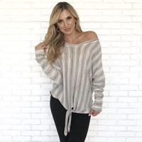 Earth Tone Stripe Fleece Top