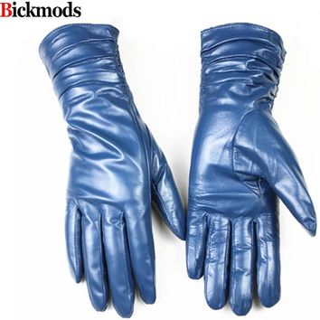 Female leather gloves lengthened elastic style sheepskin gloves a variety of colors gold velvet lining warm autumn and winter