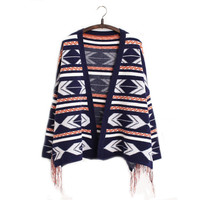 Women Geometric Knitted Tassel Cape Cardigan Sweater
