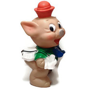 Rubber Squeaky Pig . Fifer Pig . Three Little Pigs . Walt Disney. Squeak Toy .