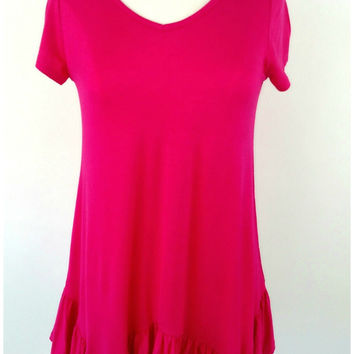 Lucy Ruffle Bottom Tunic - Hot Pink