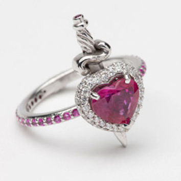 18ct White Gold Ruby and Diamond Heart with Dagger Ring