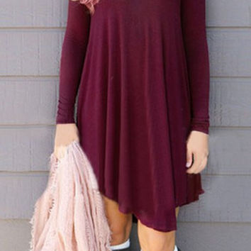 Low-Cut V-Neck Long Sleeve Asymmetric Dress
