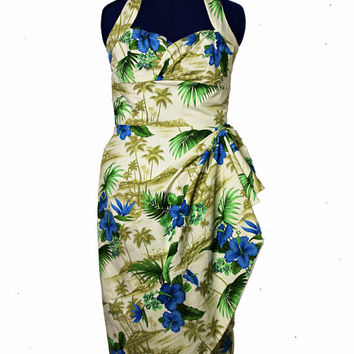 Palm Tree Inspired Hawaiian Sarong Dress
