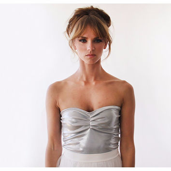 Ballerina Strapless Silver Stretchy Party Top