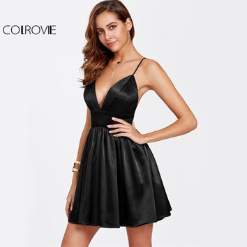 COLROVIE Black Bustier Satin Cami Dress Sexy Party Women Backless Empire A Line Dresses 2017 Deep V Neck Zip Back Skater Dress