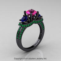 French 14K Black Gold Three Stone Pink and Blue Sapphire Emerald Wedding Ring, Engagement Ring R182-14KBGEMBSPS