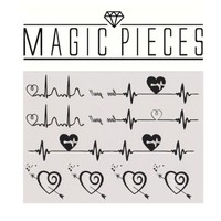 """MP Temporary Tattoo Fake Tattoo Non-toxic Tattoo Sticker with Black Electrocardiogram Heart Pattern Size 5.9""""X4.3"""" DPT 0616"""