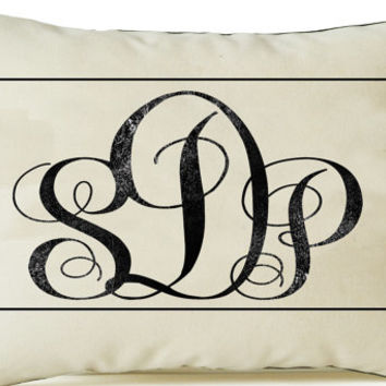 Decorative Pillow Cover -Three Letter Monogram Pillow -Organic Cotton Personalized Pillow -12x20 -Wedding -Anniversary -Present -Dorm Room